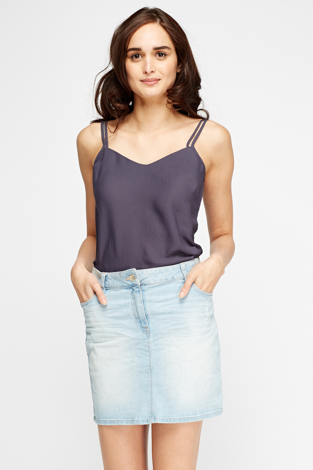 Twin Strap Basic Cami Top Grey Just 163 5