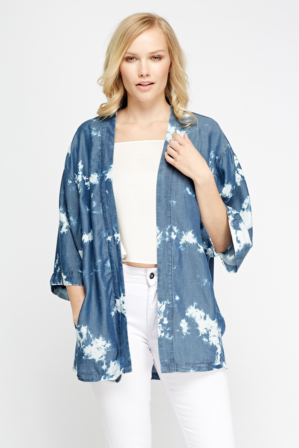 Middle Blue Printed Kimono Top - Just £5