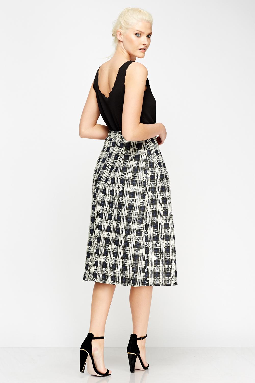 check grid high waist midi skirt just 163 5