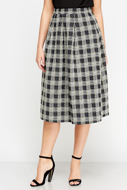 aaa89d2992 Check Grid High Waist Midi Skirt - Just £5