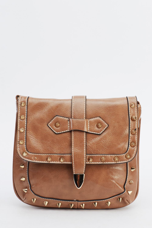 spike trim studded shoulder bag just 163 5