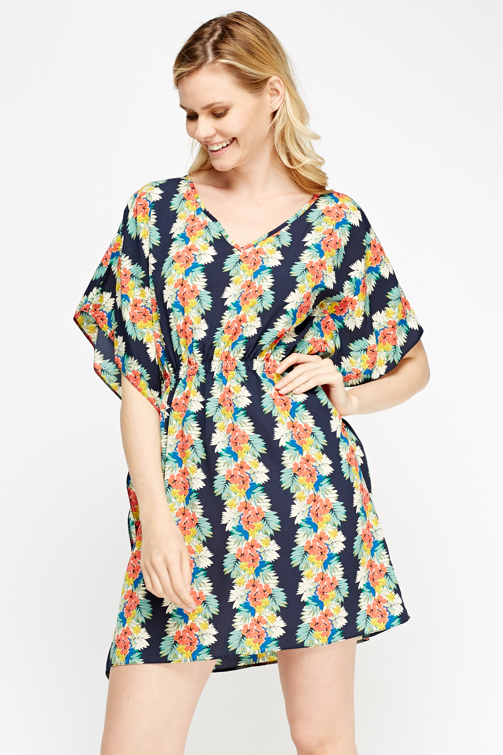 Floral Print Cover Up Dress Navy Multi Or Off White