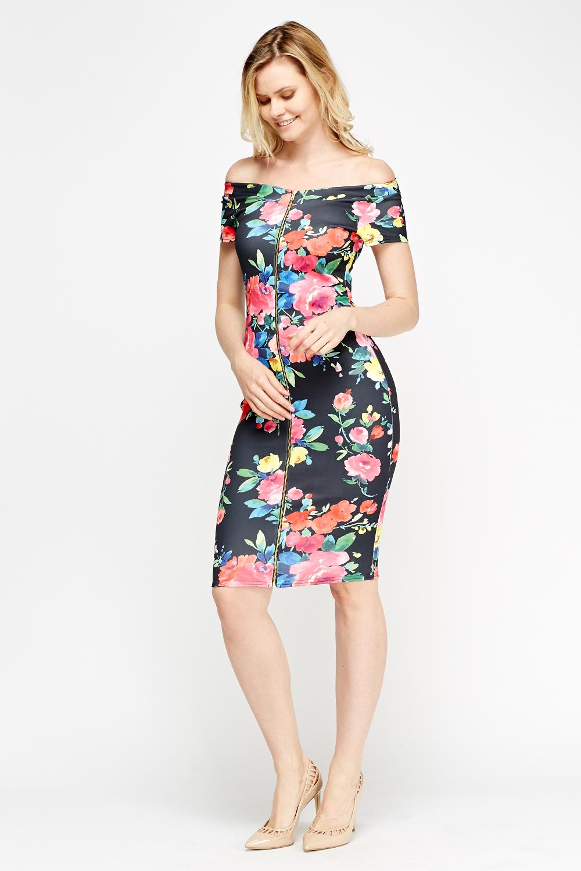 a72230423572 Off Shoulder Floral Dress - Just £5