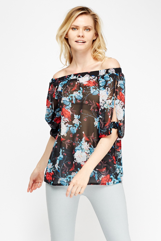 b5ec2d073f14d1 Off Shoulder Sheer Floral Top - Black Multi - Just £5