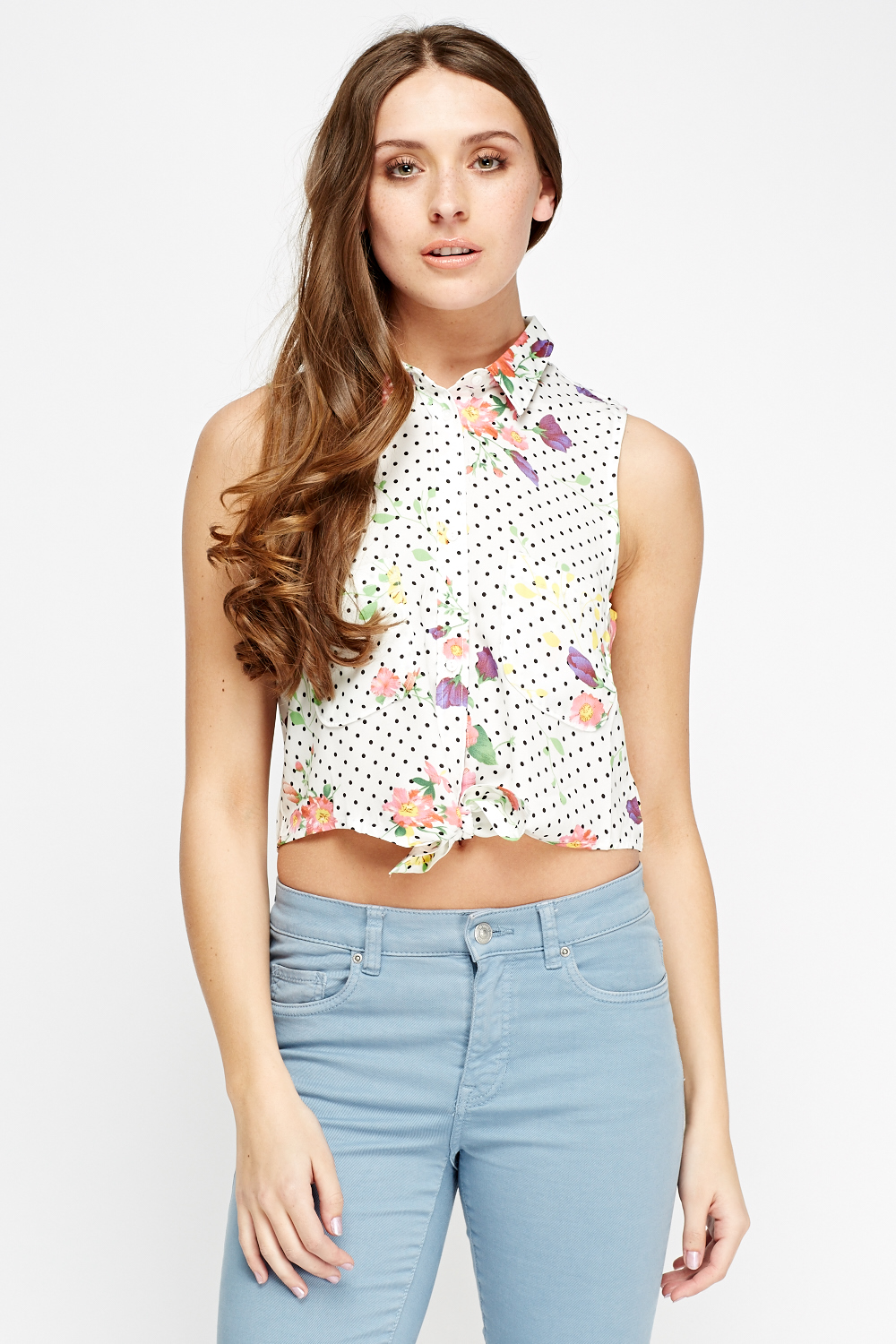 008a1ac8d3f7d7 Floral Tie Up Knot Top - White - Just £5