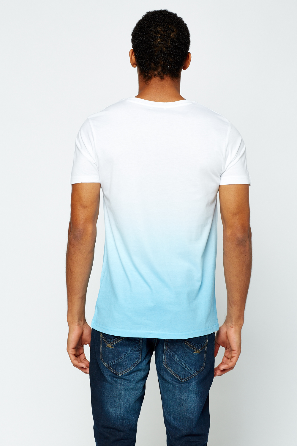 Logo Printed Front T Shirt White Blue Just 5