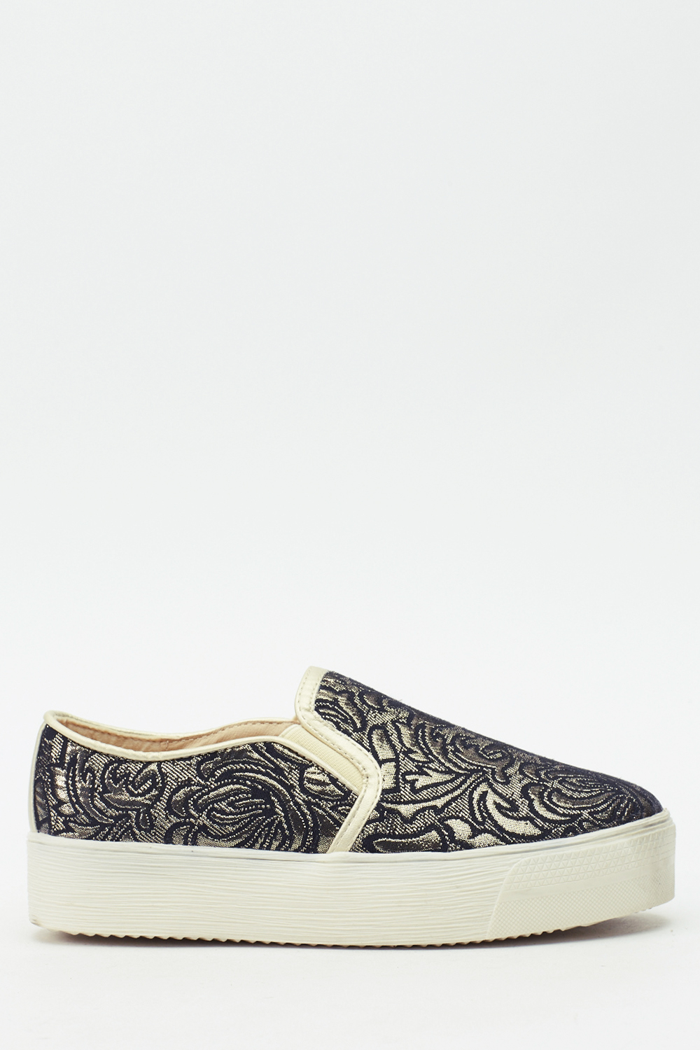 metallic textured slip on shoes black or gold just 163 5