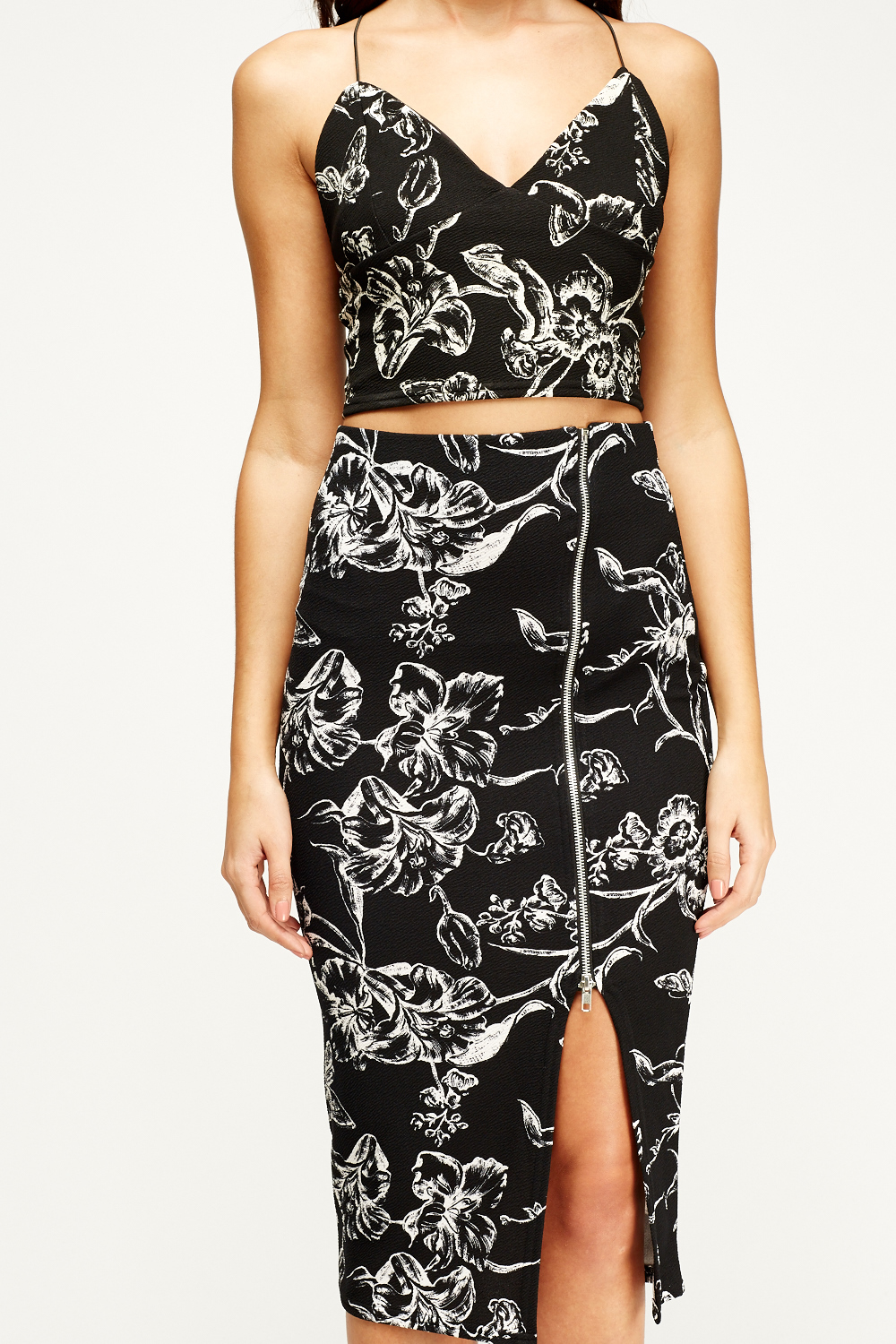 Floral Crop Top And Skirt Set - Just £5