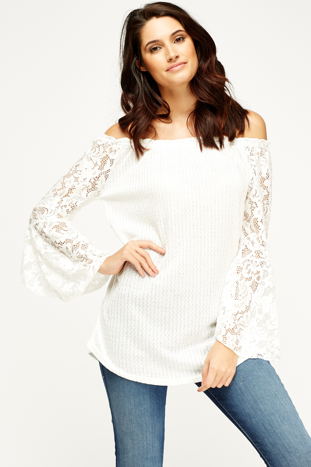 0f34ffe67f617 Lace Sleeved Off Shoulder Top - Just £5