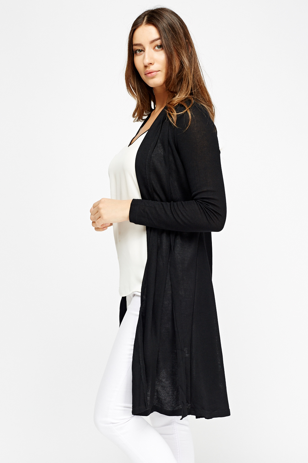 Tie Up Black Long Cardigan - Just £5