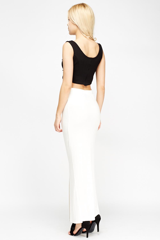 front slit maxi skirt white just 163 5