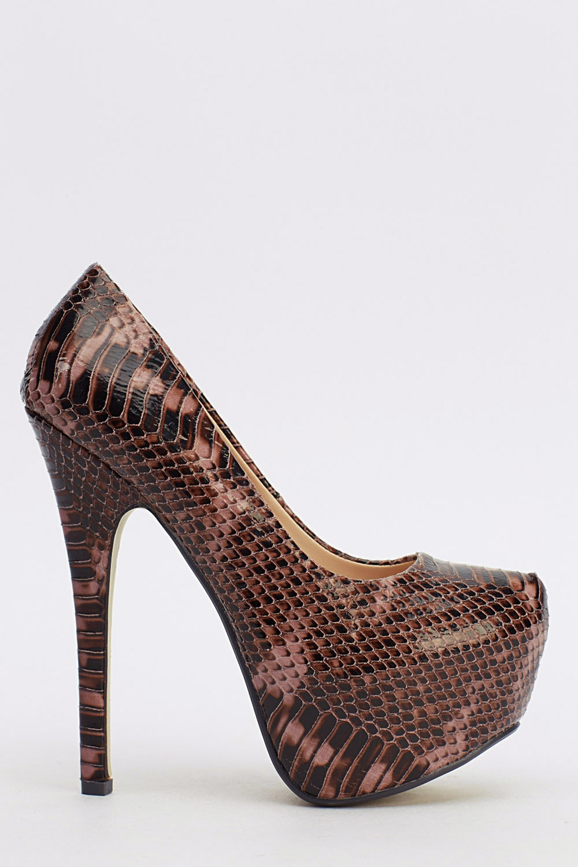 Mock Croc Platform High Heels Grey Just 163 5