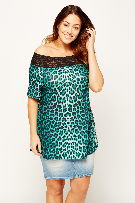 163fb978be7a Leopard Print Lace Trim Off Shoulder Top - Just £5