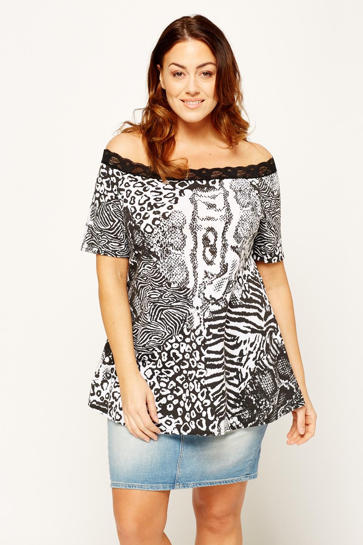 a04642a03648 Mixed Animal Print Off Shoulder Top - Just £5
