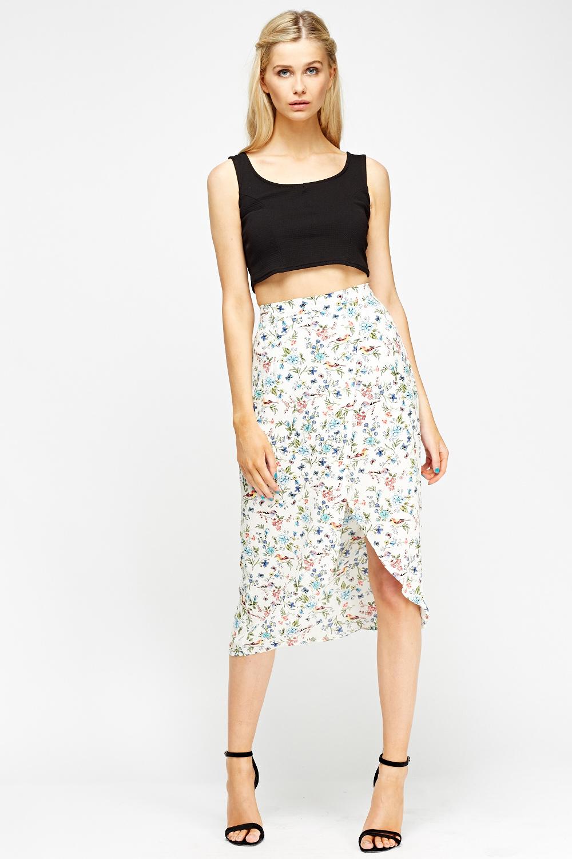 Floral Wrap Hem Midi Skirt Just 163 5
