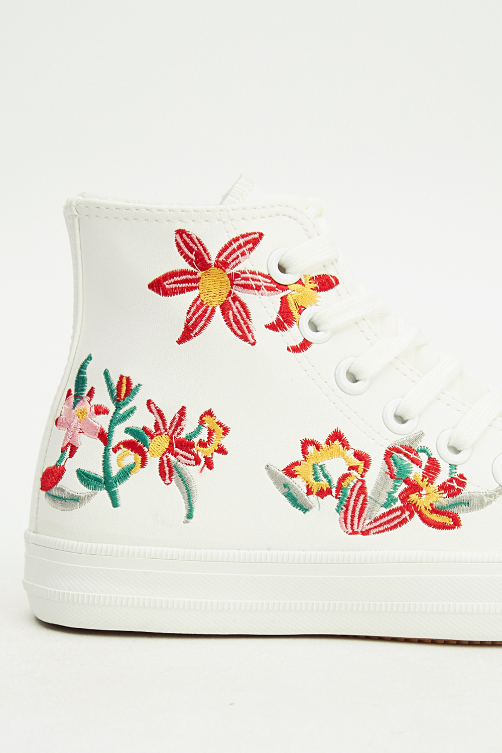 Embroidered Floral Faux Leather Trainers Click On The Image To Zoom