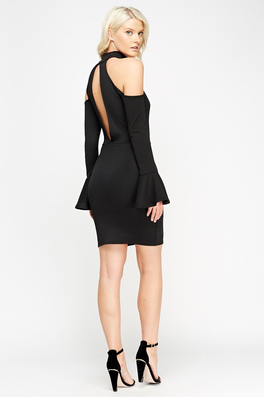 Halter Neck Cut Flare Sleeve Dress Just 163 5