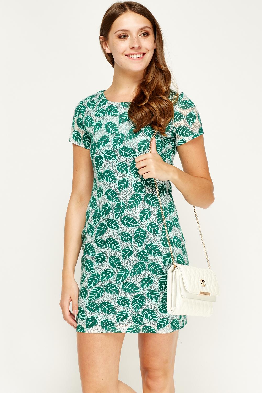 Tenki Green Leaf Print Shift Dress - Limited edition   Discount ...