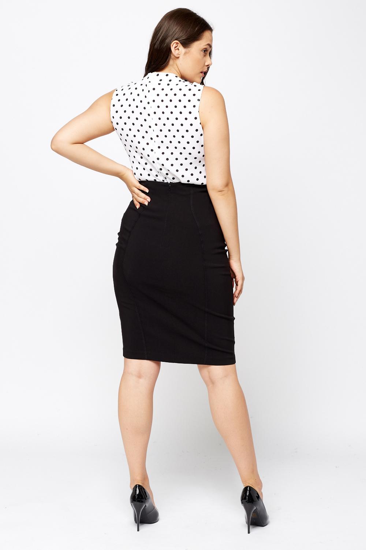 Black Pencil Midi Skirt - Just u00a35