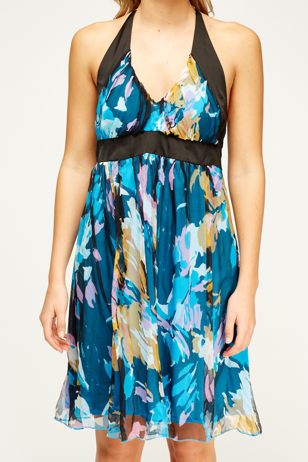 Sexy Royal Blue Mint Printed Halter Maxi Party Dress This dress is perfect for a night out! Features: bold print, halter, plunging neckline, front slit accent, followed by a semi-fitted wear. 90% Poly.