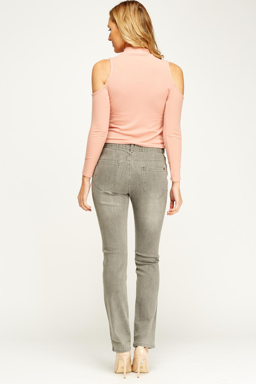 grey denim slim fit jeans just 5. Black Bedroom Furniture Sets. Home Design Ideas