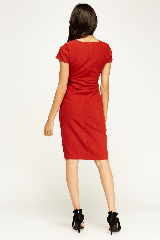 Rust Cap Sleeve Pencil Dress - Just £5