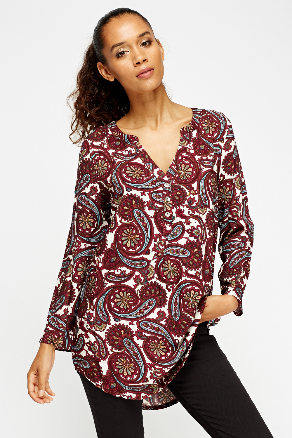 Paisley Print Embellished Tunic Top Just 163 5