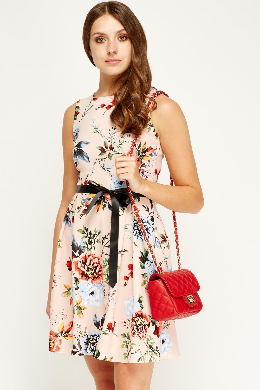 Blue Royal Pink Floral Skater Dress - Limited edition  992abf148
