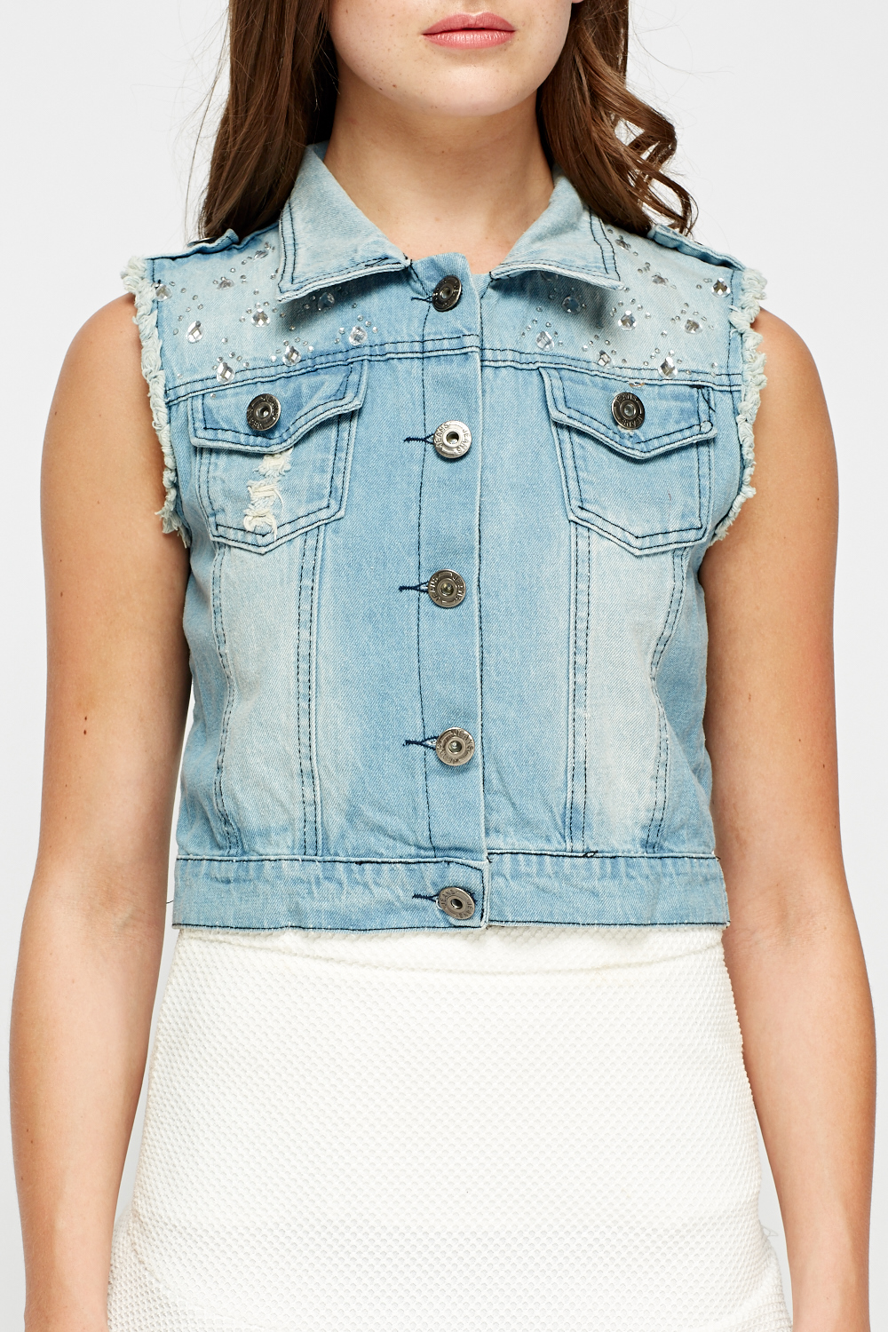 5df0d823e8afe8 Encrusted Denim Blue Sleeveless Jacket - Just £2