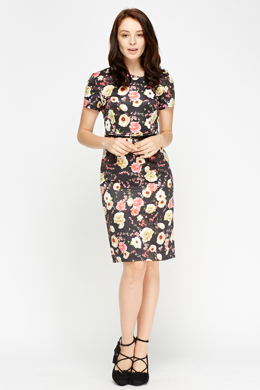floral black belted dress just 163 5