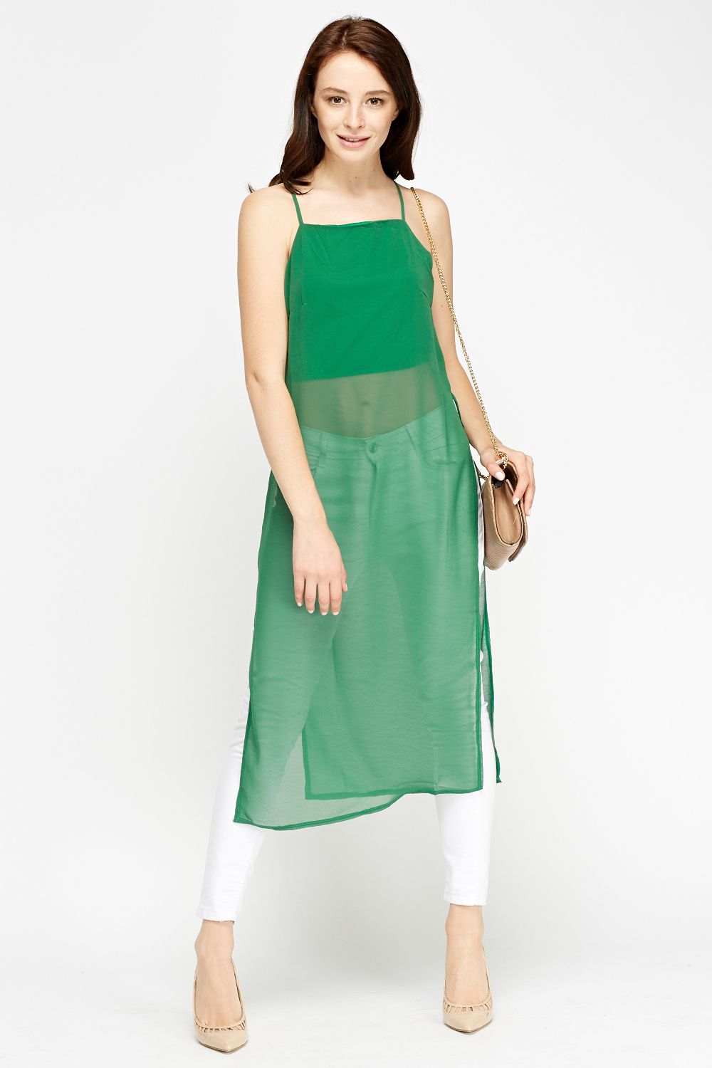 Green Longline Cami Top Just 163 5