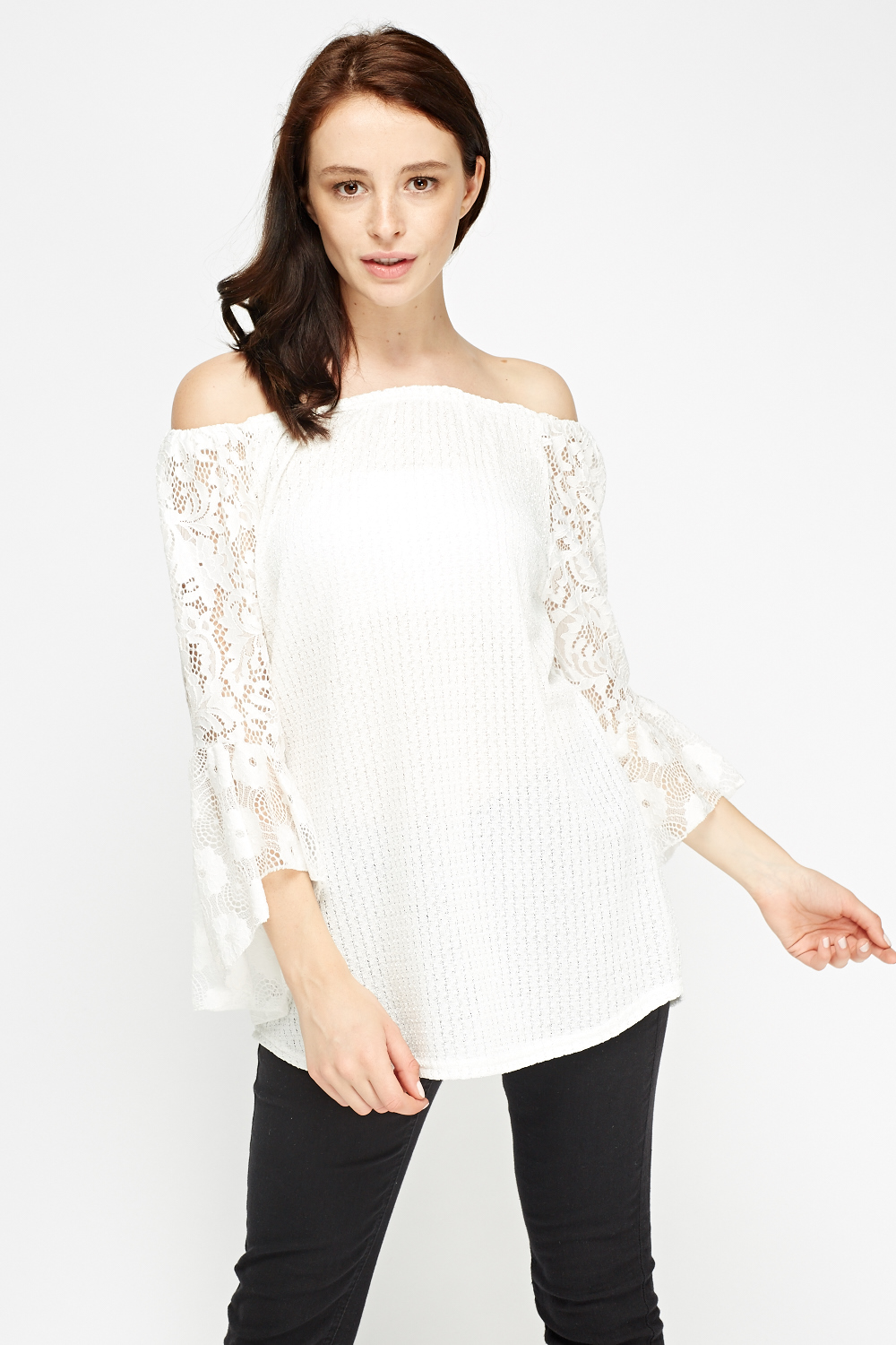 82b516d198 White Lace Sleeve Off Shoulder Top - Just £5