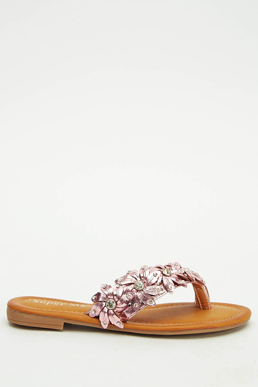 17236a32ad8a Flower Diamante Flip Flops - Just £5
