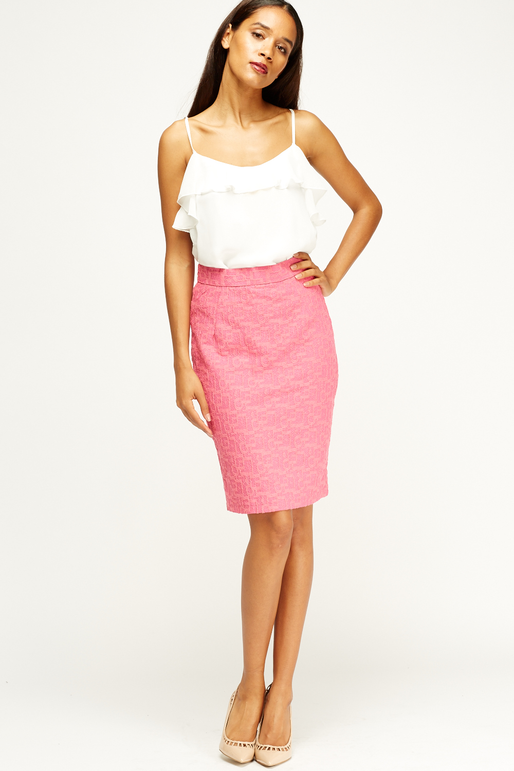 textured midi pencil skirt 3 colours just 163 5
