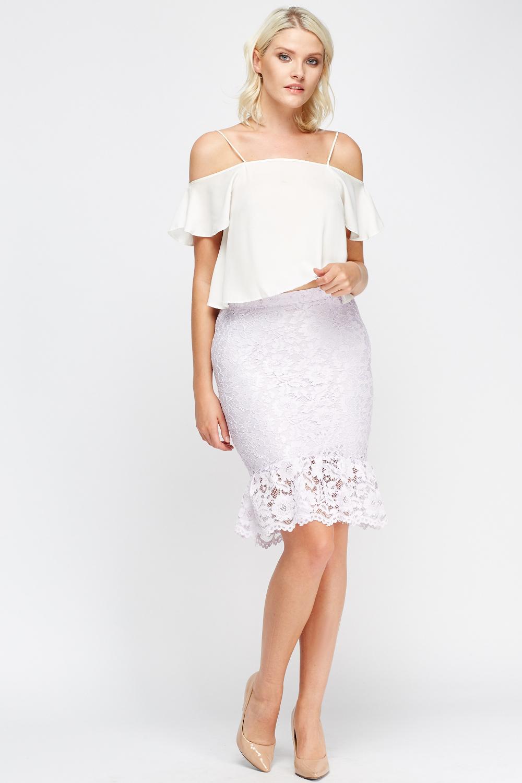 Lace Flared Hem Midi Skirt Black Or Lilac Just 163 5
