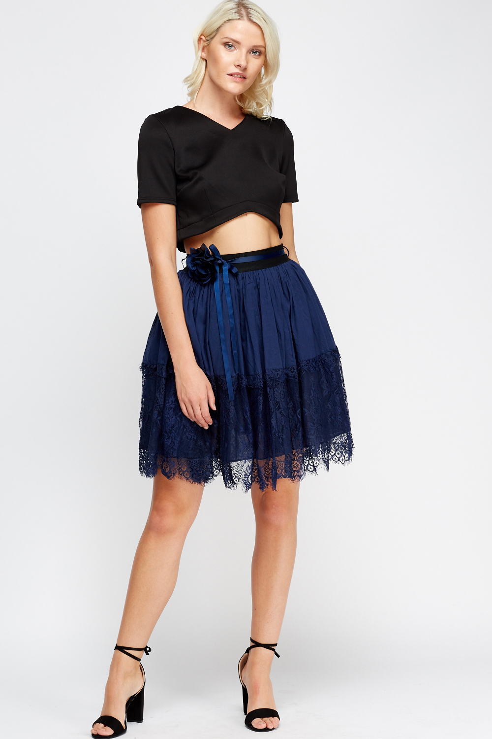 lace trim midi skirt white or pink just 163 5