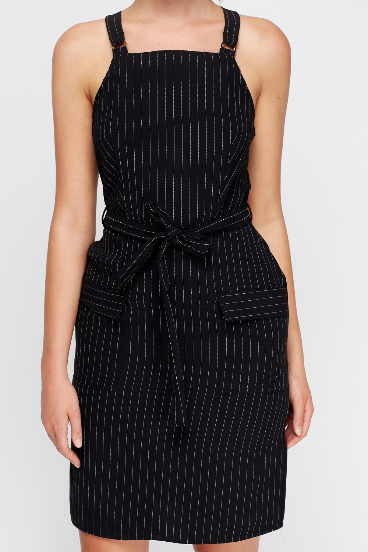 Striped Pinafore Dress - Black - Just £5