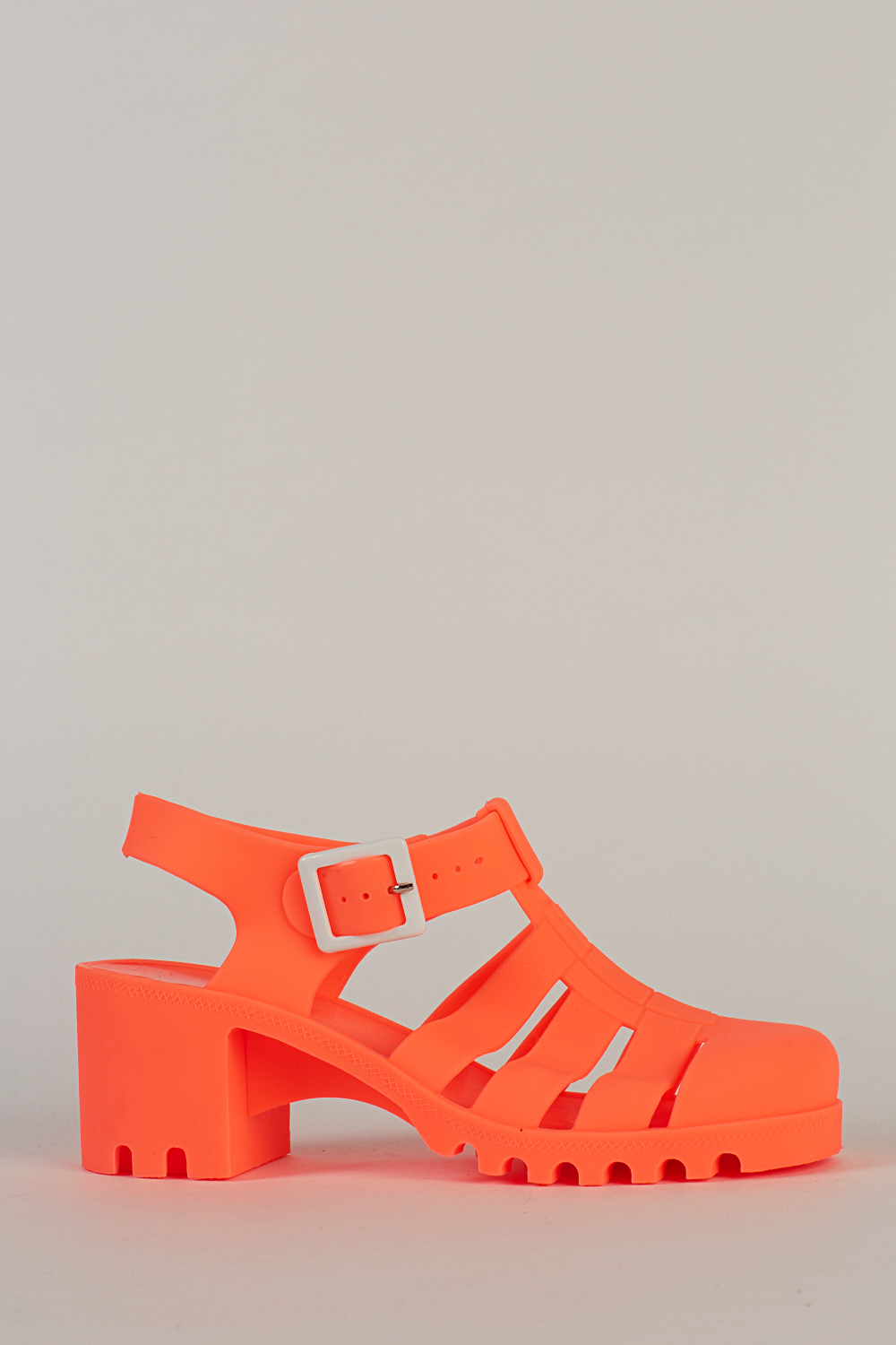 08f29742e21e Block Heel Neon Coral Jelly Sandals - Just £5