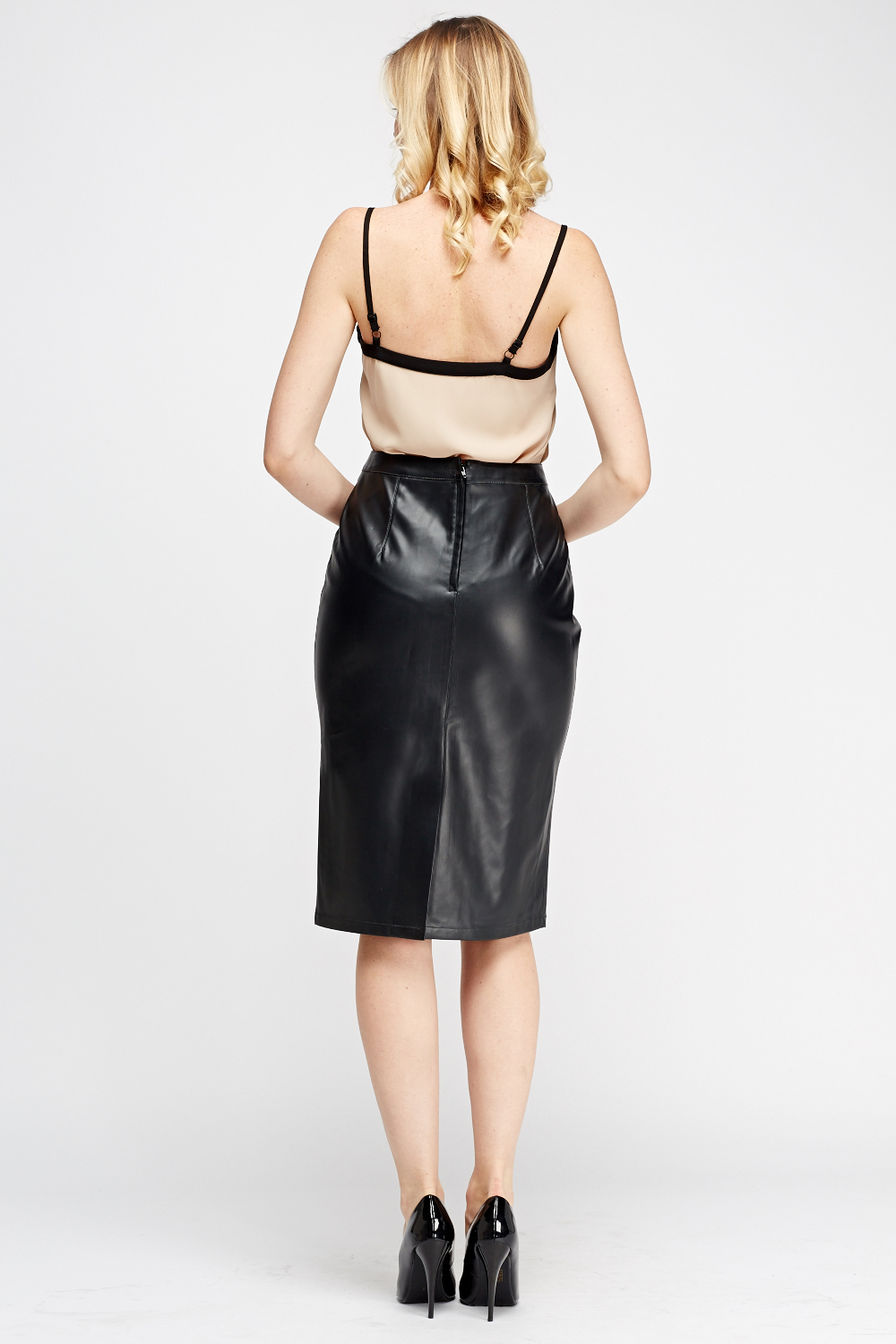 faux leather midi skirt just 163 5
