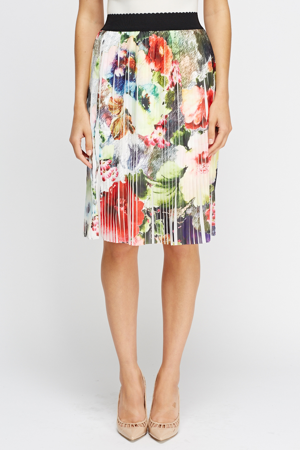 pleated floral midi skirt just 163 5