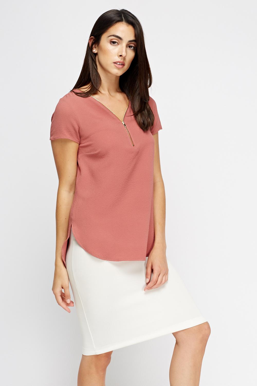 Womens Zip Blouse Collar Blouses