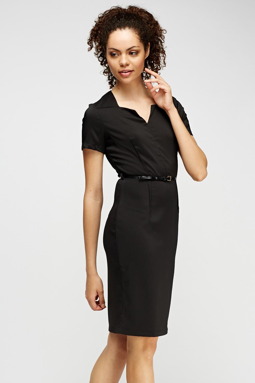 black pencil belted dress just 163 5