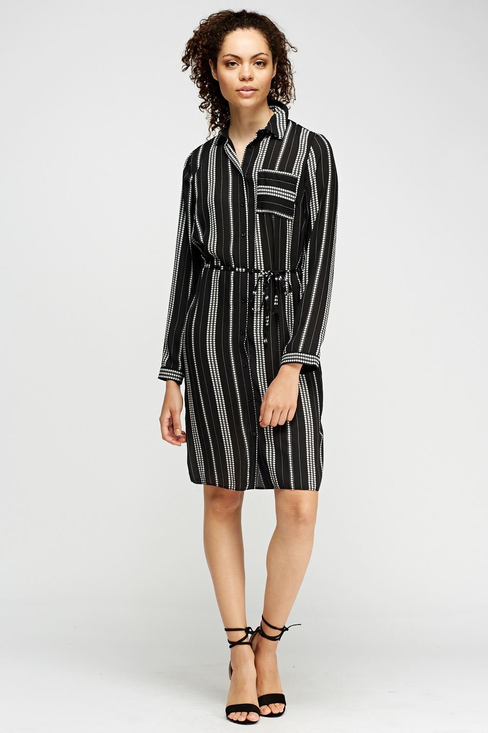 Star printed shirt dress black just 5 for Where to buy a dress shirt