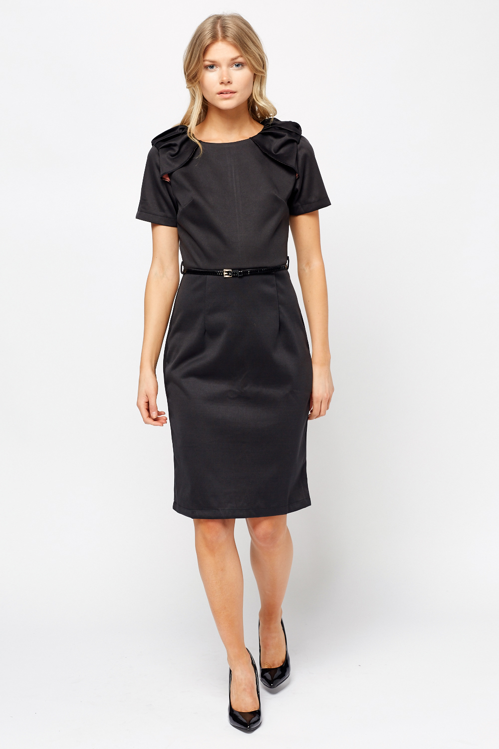 Ruched Sleeve Black Pencil Dress - Just £5 7270322fa