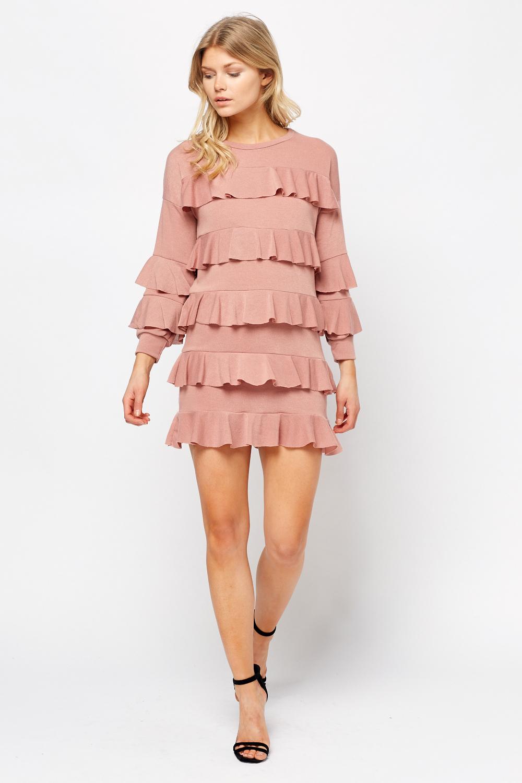 800df174f04 Ruffled Long Sleeve Mini Dress - Just £5