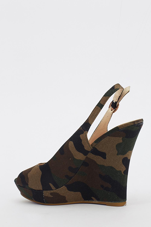 Camouflage Print Sling Back Wedges Just 163 5