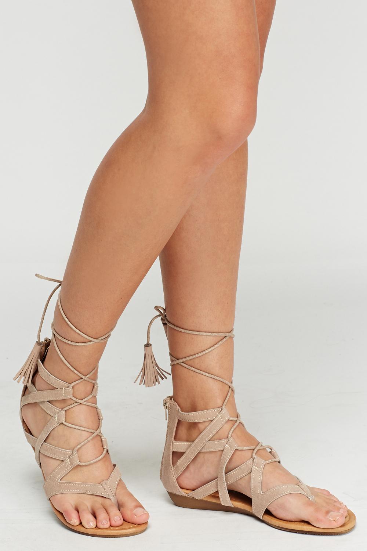 Tie Up Beige Sandals Just 163 5