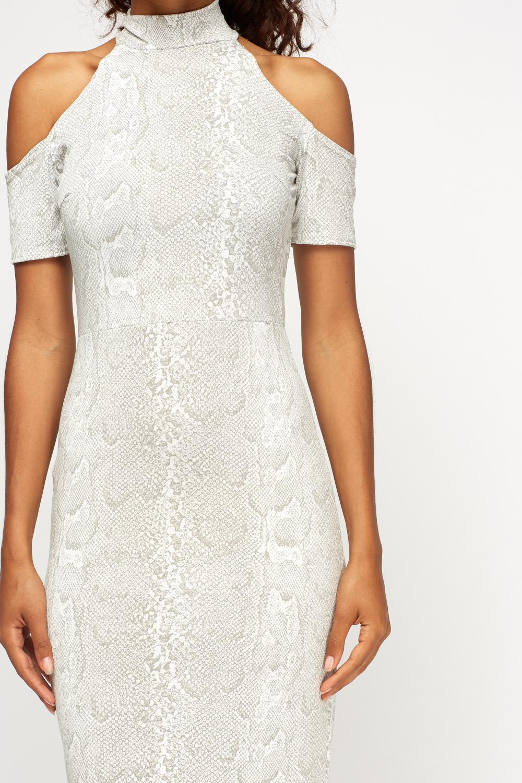 Mock Croc Print Cold Shoulder Maxi Dress 1