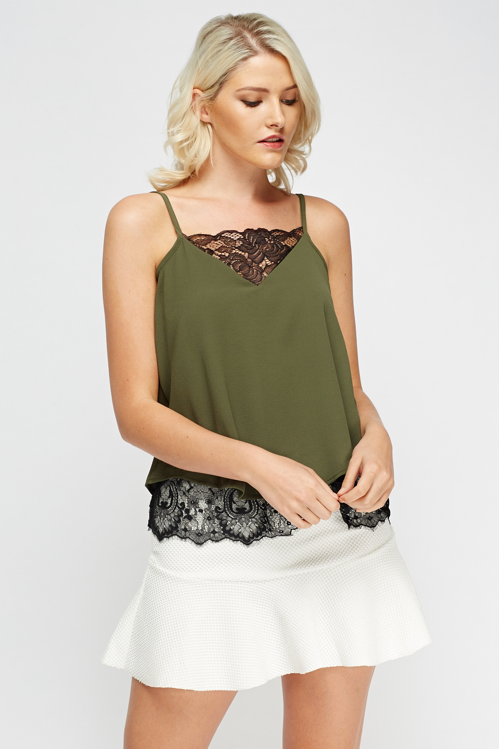Lace Insert Cami Top Black Or Khaki Just 163 5