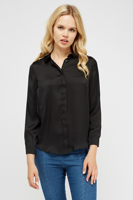shirt, button down, black button down, dotted blouse